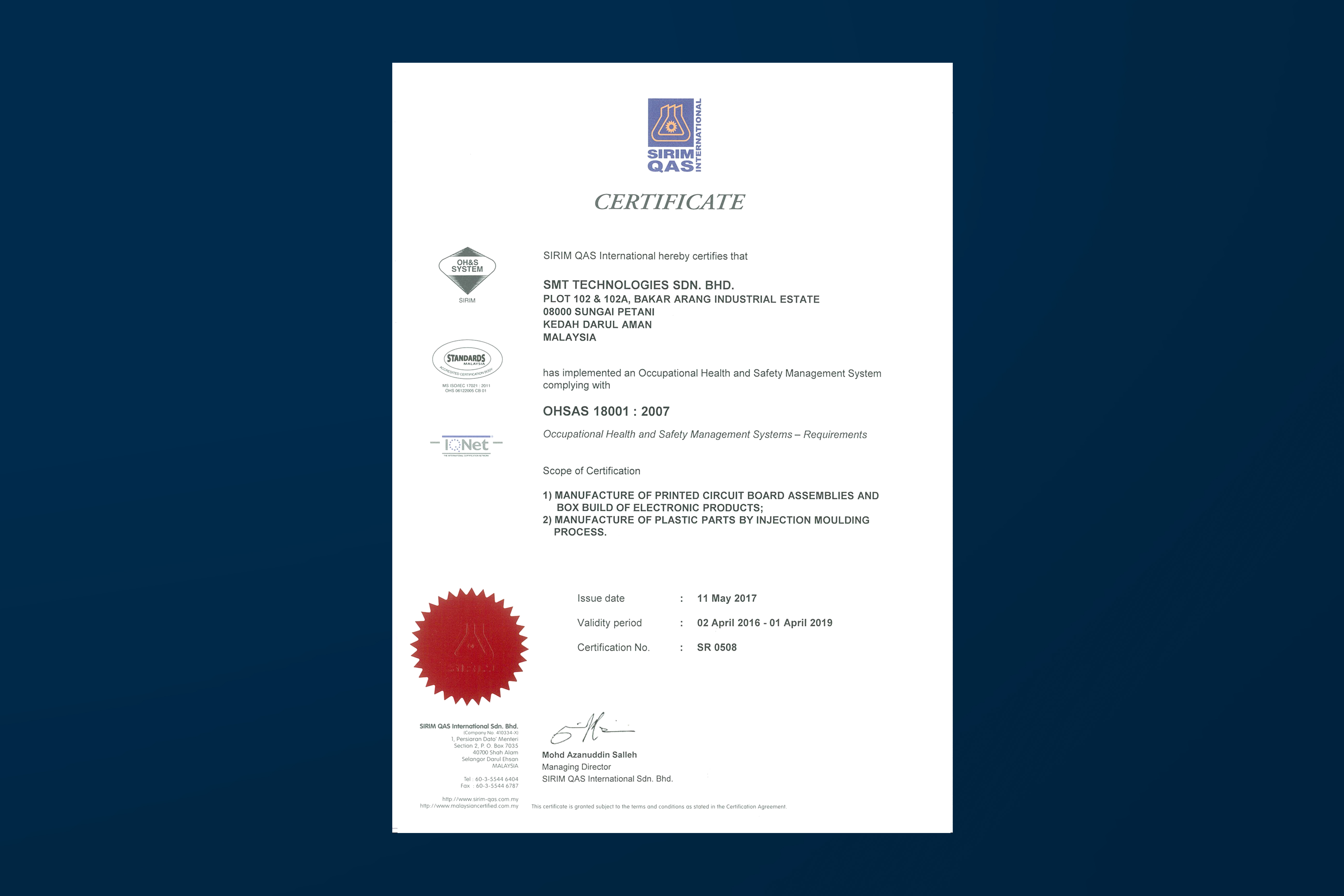 Certificate Printed Circuit Board Assembly Box Build Ohsas 18001 2007 Scope Of Certification 1 Manufacture Assemblies And
